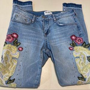 William Rast Ankle Skinny Embellished Jeans Boho